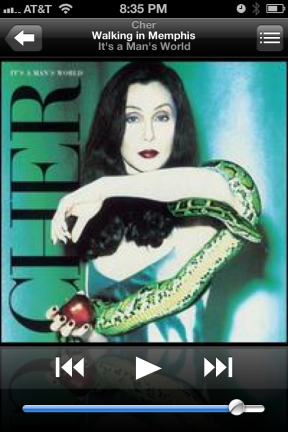 Cher, Walking in Memphis on the iPhone Playlist