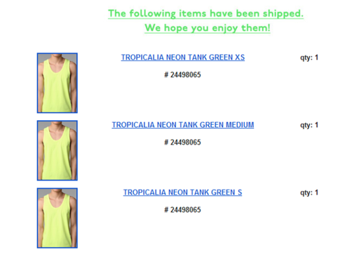 Tank top order confirmation