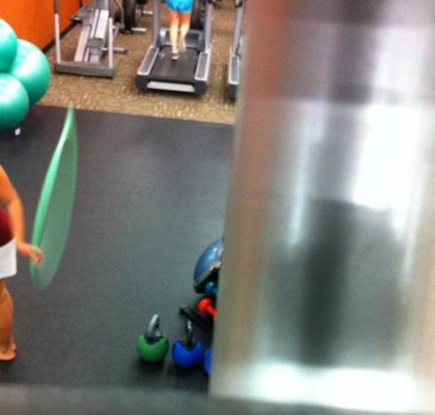 hula hooping at the gym