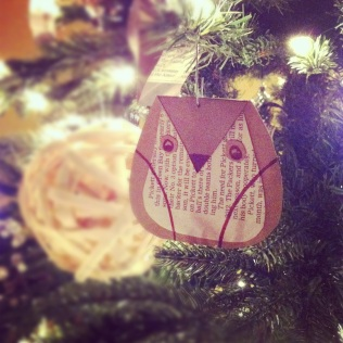 recycled newspaper owl ornament