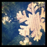 recycled newspaper snowflake ornament