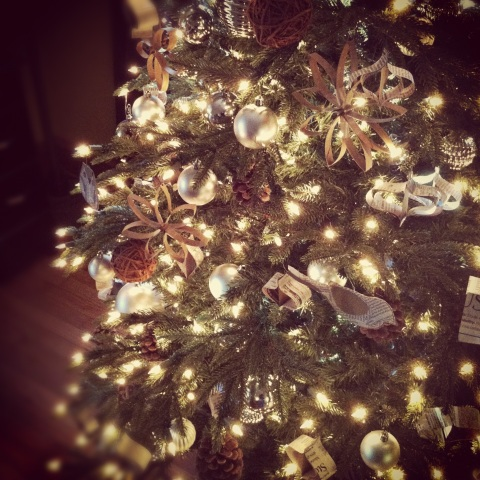 Christmas Tree using recycled products for ornaments