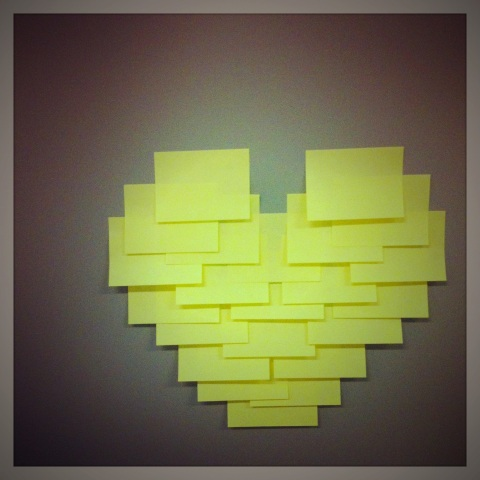 Post-it note heart