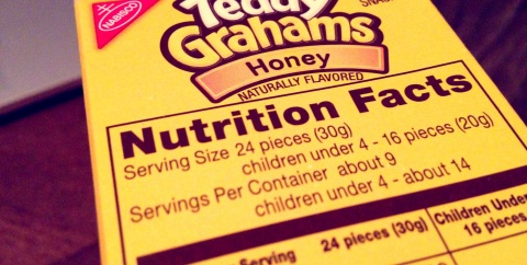 teddy grahams nutrition label