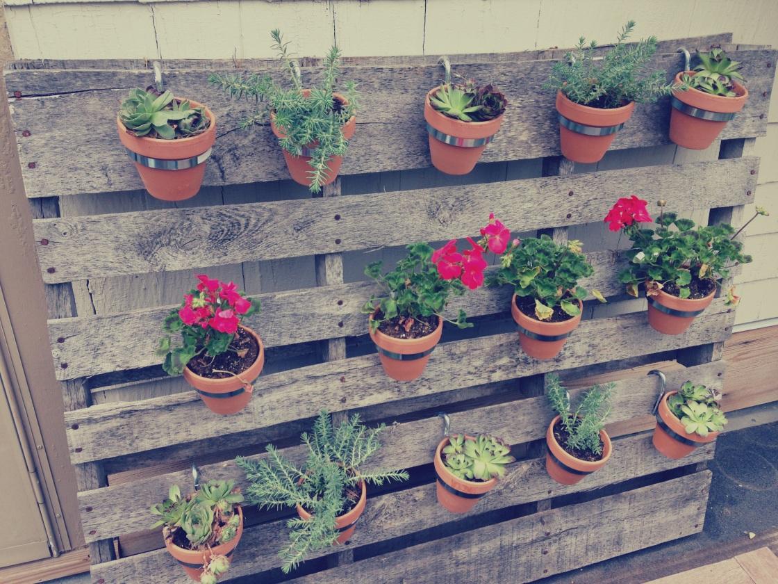 Vertical Pallet Garden - Terra-Cotta Hanging Planters