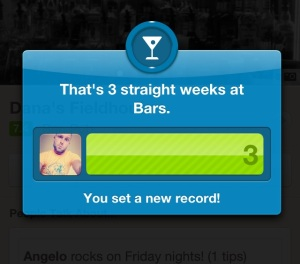 Foursquare bar badge and notification