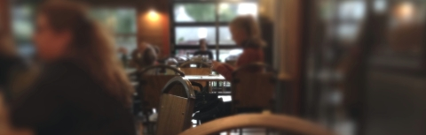 typewriter man in the coffee shop