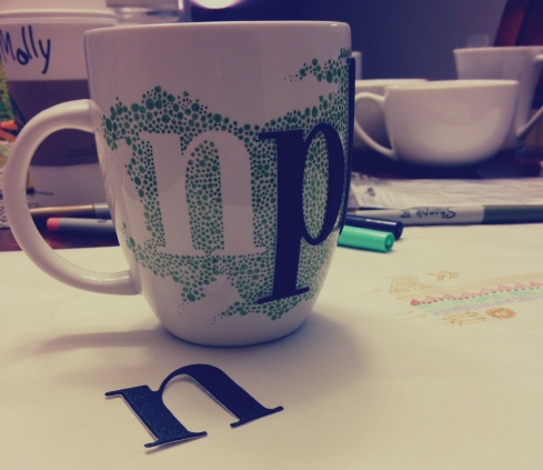 diy sharpie mugs, step 2