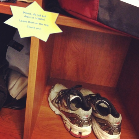 gym shoes in the cubby