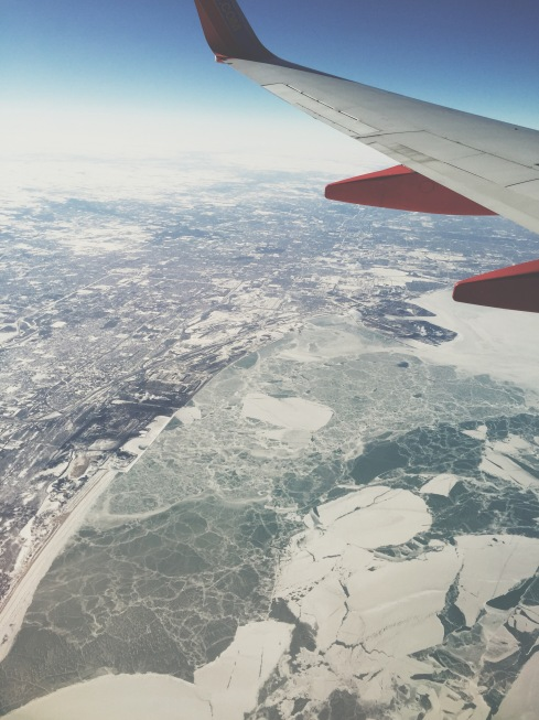 A very frozen Lake Michigan in the winter by Chicago