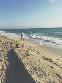 Walking along the beach. South Beach, Miami.