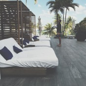 Lounging poolside at the Hotel Victor in South Beach Miami